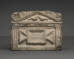 45. a composition stone cast of a roman marble cinerary urn inscribed for aurelia achaice, early19th century,the original circa 1st half of the 1st century a.d.   a composition stone cast of a roman marble cinerary urn inscribed for aurelia achaice