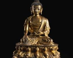 301. a gilt-bronze figure of shakyamuni 17th century |