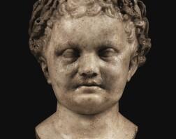 34. a roman marble portrait of a boy as apollo, late 1st century a.d.   a roman marble portrait of a boy as apollo