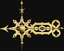 1215. star, scroll and orb bannerettepossibly byj.w. fiske & co.1875-1900   star, scroll and orb bannerettepossibly byj.w. fiske & co.1875-1900