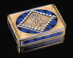40. a jewelled gold and enamel royal presentation snuff box, hanau, circa 1815a jewelled gold and enamel royal presentation snuff box, hanau, circa 1815 |