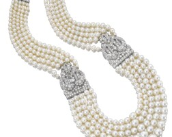 505. important and very fine natural pearl and diamond necklace, cartier, 1930s