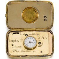 137. czapek & cie, à paris   a gold hunting cased purse watchwith a leather covered fitted travelling casecirca 1860, no. 7245