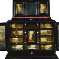 7. a flemishebony veneered and tortoiseshell cabinet on stand, antwerp late 17th century, the stand 19th century