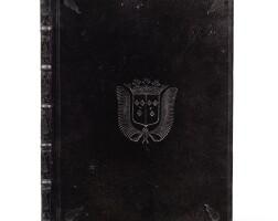 134. bossuet. oraison funèbre de... paris, 1685. in-4. reliure de deuil aux armes de louise de bourbon.