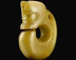 102. a rare yellow jade zhulong ('pig dragon') neolithic period, hongshan culture |