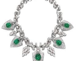 1818. 祖母綠配鑽石項鏈