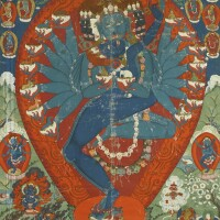 407. a thangka depicting hevajra and consort tibet, mid-19th century