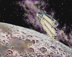 """9. sokolov, andrei. """"на орбите вокруг луны"""" [in orbit around the moon], circa 1971"""
