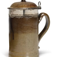 608. a rare london brown stoneware tankard and hinged cover, with silver mount early 18th century |