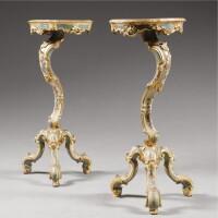 7. a pair of italian polychrome lacquered and parcel-gilt guéridons a trespolo, venetian mid 18th century