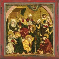 103. swabian school, possibly nördlingen,circa 1500 | a portable triptych: central panel: the dormition of the virgin;lateral panels: mary magdalen and saint veronica