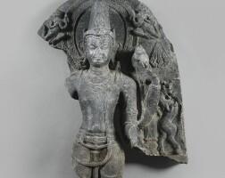 1310. a phyllite fragment depicting vishnu india, pala period, 10th / 11th century