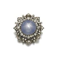 40. star sapphire and diamond brooch, late 19th century