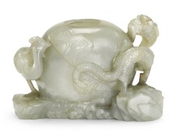 110. a pale celadon jade 'dragon and phoenix' waterpot qing dynasty, 18th century