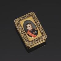 39. 皇室餽贈黃金配琺瑯肖像鼻煙盒,加布里埃爾-拉烏爾·莫雷爾製造,巴黎,1812-1815年 | 皇室餽贈黃金配琺瑯肖像鼻煙盒,加布里埃爾-拉烏爾·莫雷爾製造,巴黎,1812-1815年