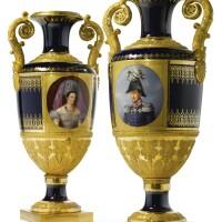 41. an important pair of imperial presentation porcelain vases, imperial porcelain manufactory, st. petersburg, 1836