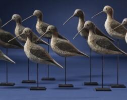 1256. rig of ten shore birds (yellowlegs)american school, 19th century | rig of ten shore birds (yellowlegs)american school, 19th century