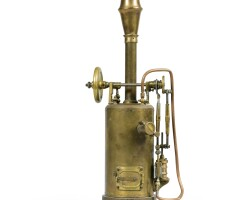 22. a copper and brass small-scale vertical steam engine, petromax, 20th century