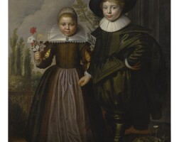 13. west friesland school, 17th century | portrait of two children, full length, standing in a landscape