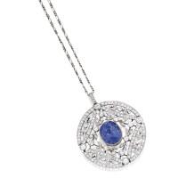 45. platinum, gold, sapphire and diamond pendant