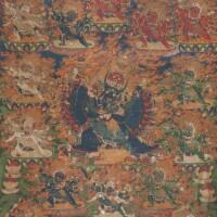 402. a thangka depicting vajrabhairava and vajravetali tibet, 18th century
