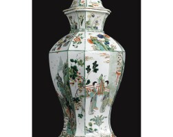 7. a chinese famille-verte large jar and cover kangxi period, (1662-1722)