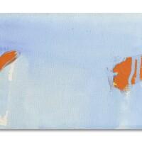 101. olivier debré | petit bleu pâle, tâches roses etrouges