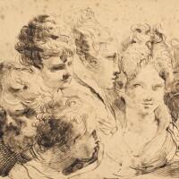 340. mauro gandolfi | a sheet of studies of six heads