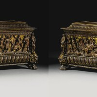 7. a pair of italian renaissance carved walnut and parcel-gilt cassoni probably rome, third quarter 16th century