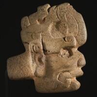 40. maya stone head hacha, late classic, ca. a.d. 550-950