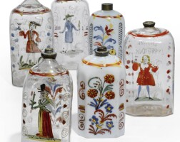 960. a group of thirteen bohemian polychrome-decorated glass bottles one dated 1739, twelve second half 18th century