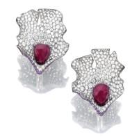 33. pair of pink sapphire, ruby and diamond ear clips, benoît de gorski