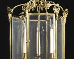 307. a regency hexagonal gilt-lacquered brass hall lantern circa 1815