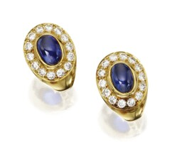 114. pair of 18 karat gold, sapphire and diamond earclips, cartier, france