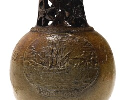 603. a rare and unusual english brown stoneware dated puzzle jug 1741 |