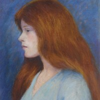 160. federico zandomeneghi | profil de femme sur fond bleu