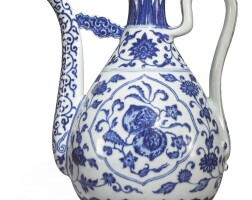 528. a ming-style blue and white ewer qianlong seal mark and period |