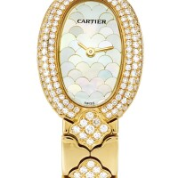2028. cartier   yellow gold and diamond-set bracelet watch with mother-of-pearl dialref 1960 case gc14760 baignoire circa2000