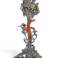35. italian, probably trapani, late 17th/ early 18th century   ornament with saint george and saint hubert