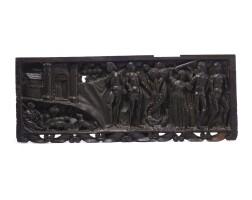 43. a north italian walnut panel late 15th/ early 16th century