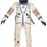 """19. a """"zvezda"""" cosmonaut suit worn on a soviet space agency mission into space"""