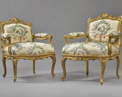 1008. a pair of louis xv giltwood fauteuils à châssis by michel cresson, circa 1740,stamped m. cresson