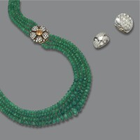 235. diamond band ring, a rock crystal ring and an emerald bead necklace, the band ring by cartier, 1999