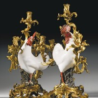 21. a pair of gilt-bronze-mounted chinese export porcelain cockerel candelabra, the porcelain qianlong (1736-1795), the mounts louis xv, with the crown c poinçon, circa 1745-49, attributed to jacques caffiéri (1678-1755), almost certainly acquired bymadame de pompadour from lazare–duvaux on 4th august 1755 for l'hôtel d'évreux in paris