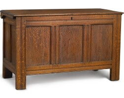 2002. fine and rare pilgrim century joined oak and chestnut chest, attributed to john norman, jr., probably marblehead, massachusetts, circa 1680