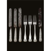 12. a set of royal german silver forks and silver knives, made by a member of the matthias family, hanover 1860