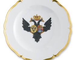 3. a porcelain plate from the grand duke paul petrovich service, königliche porzellan-manufaktur, berlin, circa 1778