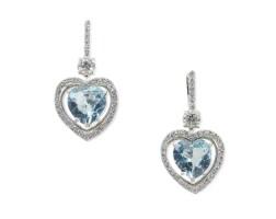 27. pair of aquamarine and diamond earrings, tiffany & co.