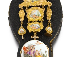36. carl heinrich weisse, à dresden | a fine and raregold mounted single cased porcelain watch and chatelaine attributed tomeissencirca 1755, no.229